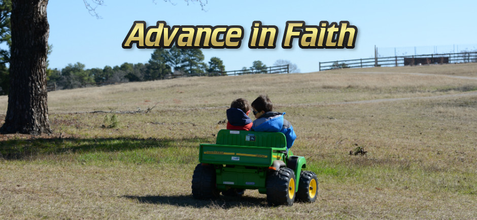 Advance in Faith - Kids on riding tractor